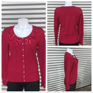 White House Black Market red button up cardigan